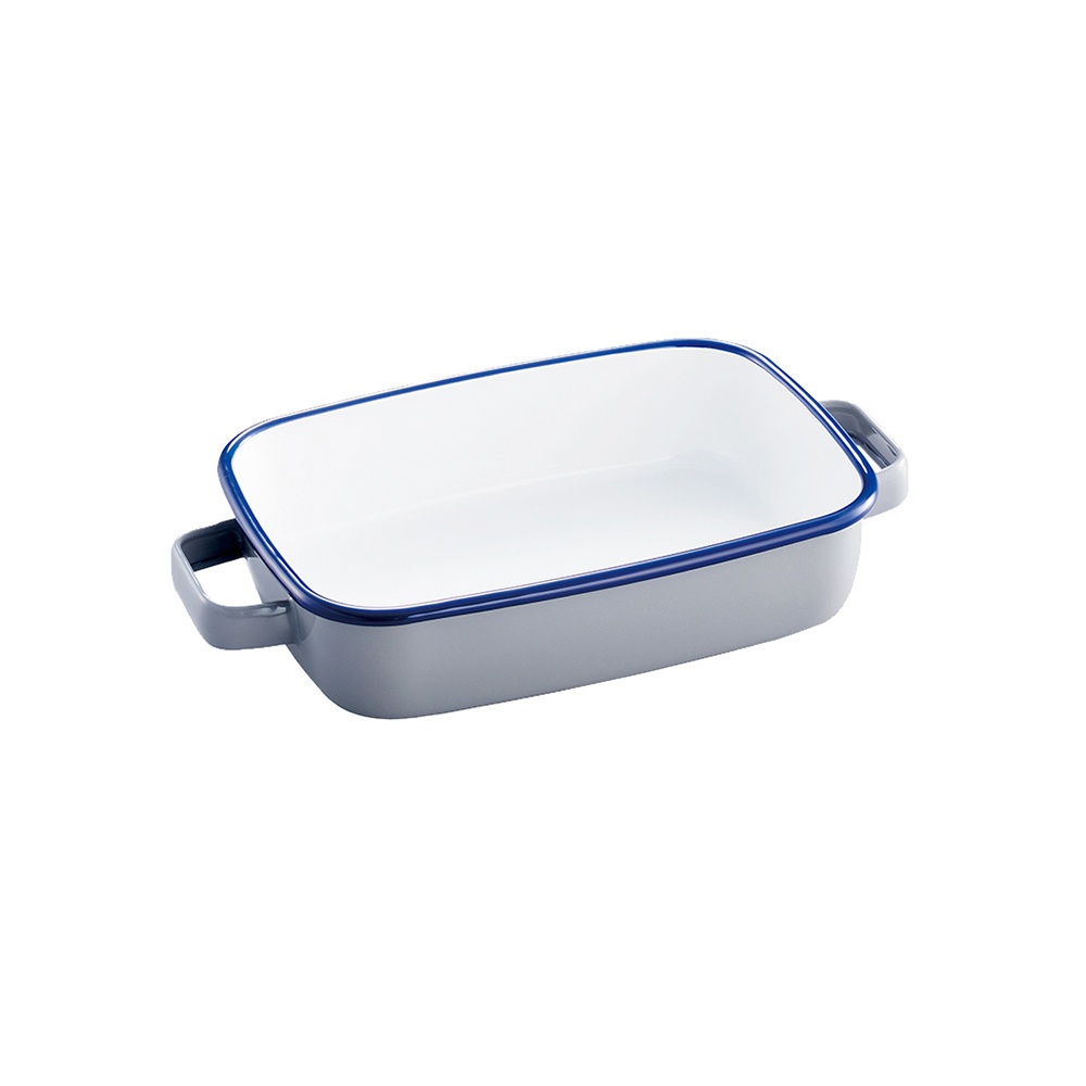 365methods|雙耳長形琺瑯烤盤(附蓋)-900ml