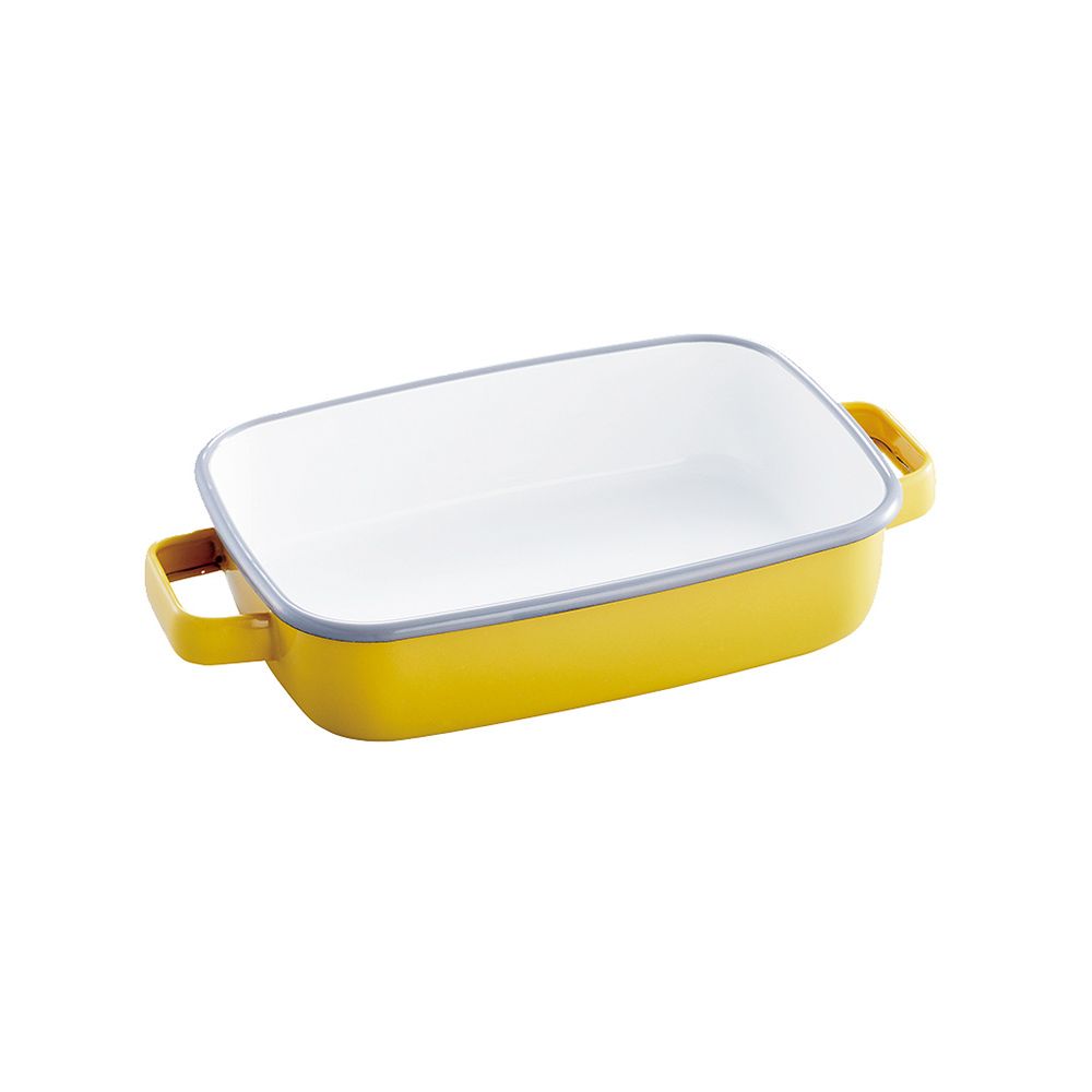 365methods|雙耳長形琺瑯烤盤(附蓋)-1.6L