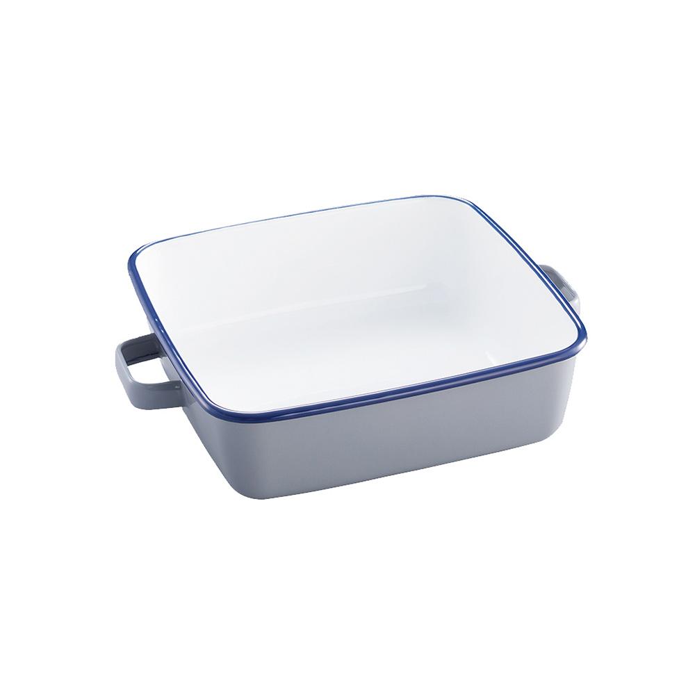 365methods|雙耳方形琺瑯烤盤(附蓋)-1.8L