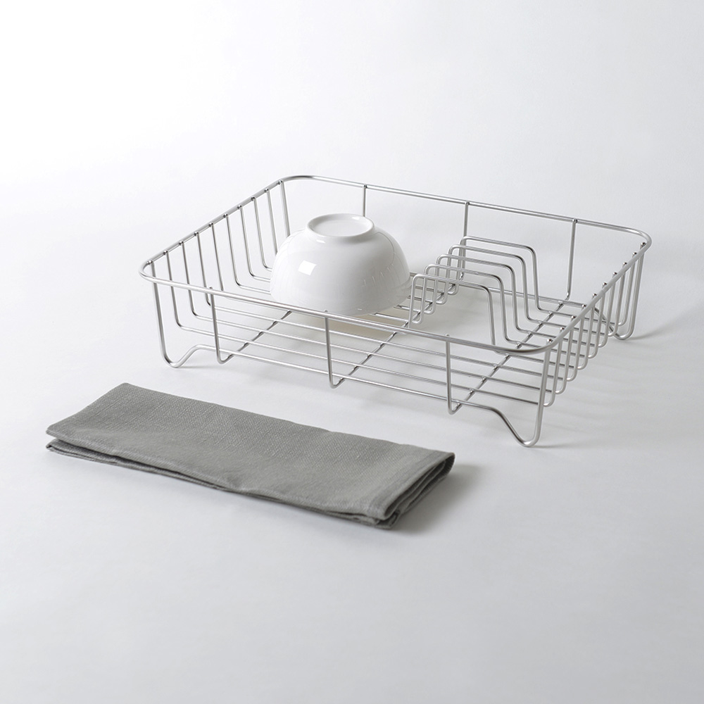 大木金屬|Outline 日製究極鏤線18-8不鏽鋼餐具瀝水籃(附純棉麻吸水墊)