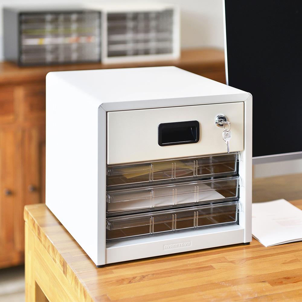 Nakabayashi|日本製鋼製桌上型A4文件櫃/資料櫃(附鎖)-3低抽+1高抽
