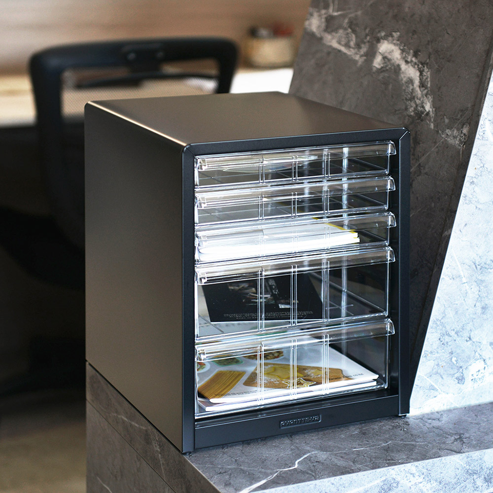 Nakabayashi|日本製鋼製桌上型A4文件櫃/資料櫃-3低抽+2高抽