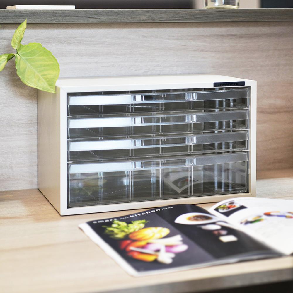 Nakabayashi|日本製鋼製橫式桌上型A4文件櫃/資料櫃-3低抽+1高抽