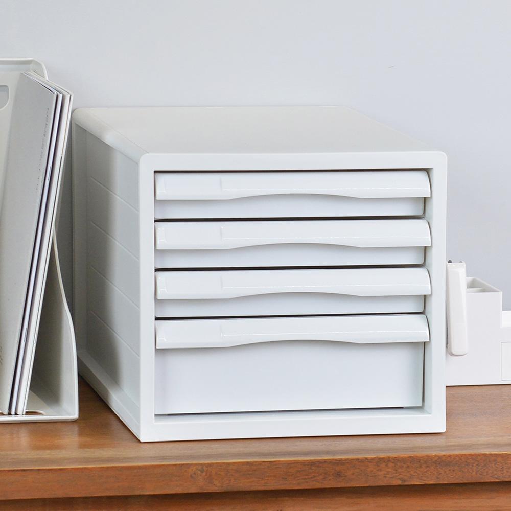 Nakabayashi 馬卡龍PP桌上型A4文件櫃/資料櫃-3低抽+1高抽
