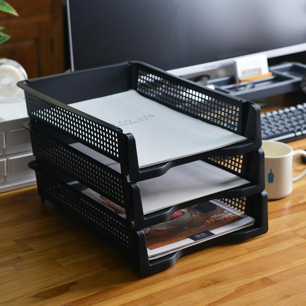 Nakabayashi|日製直式可層疊桌上用A4文件分類收納架-3入