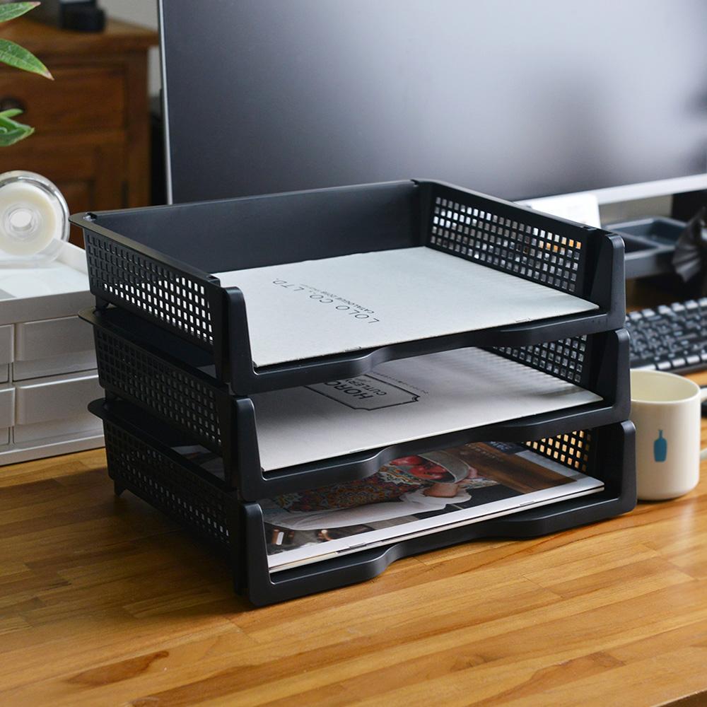 Nakabayashi|日製橫式可層疊桌上用A4文件分類收納架-3入
