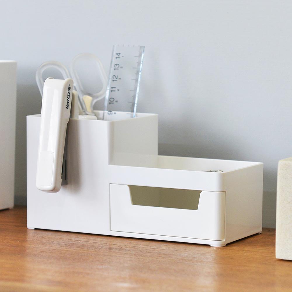 Nakabayashi|方豆腐桌上型文具分隔收納盒(1抽)-S