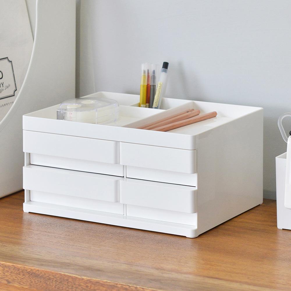 Nakabayashi 方豆腐桌上型文具分隔收納盒(4抽)-M