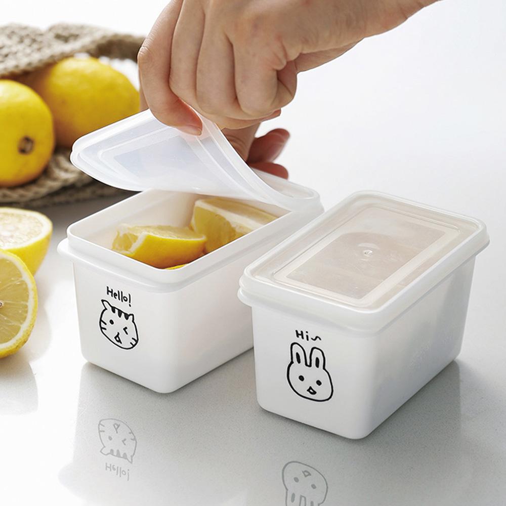 霜山|動物印花單格穀物甜點冷藏冷凍保鮮盒附蓋-280ml-6入