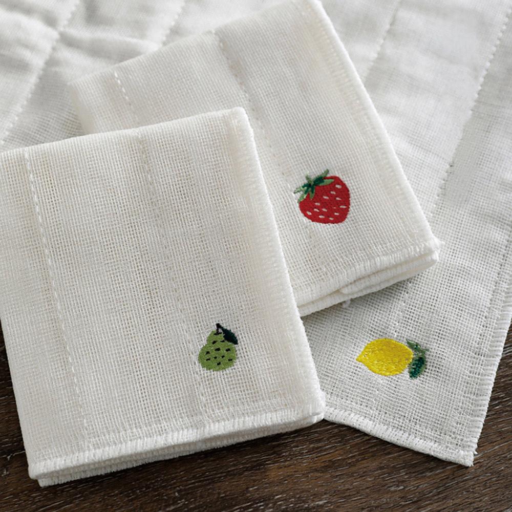 霜山|棉紗水果刺繡風加厚吸水去汙抹布(30x30cm)-3條入