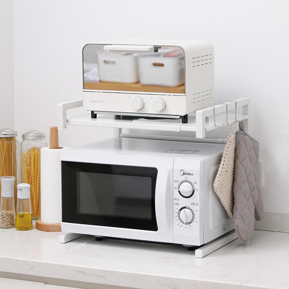 霜山|廚房電器耐重伸縮式金屬分層置物架-DIY