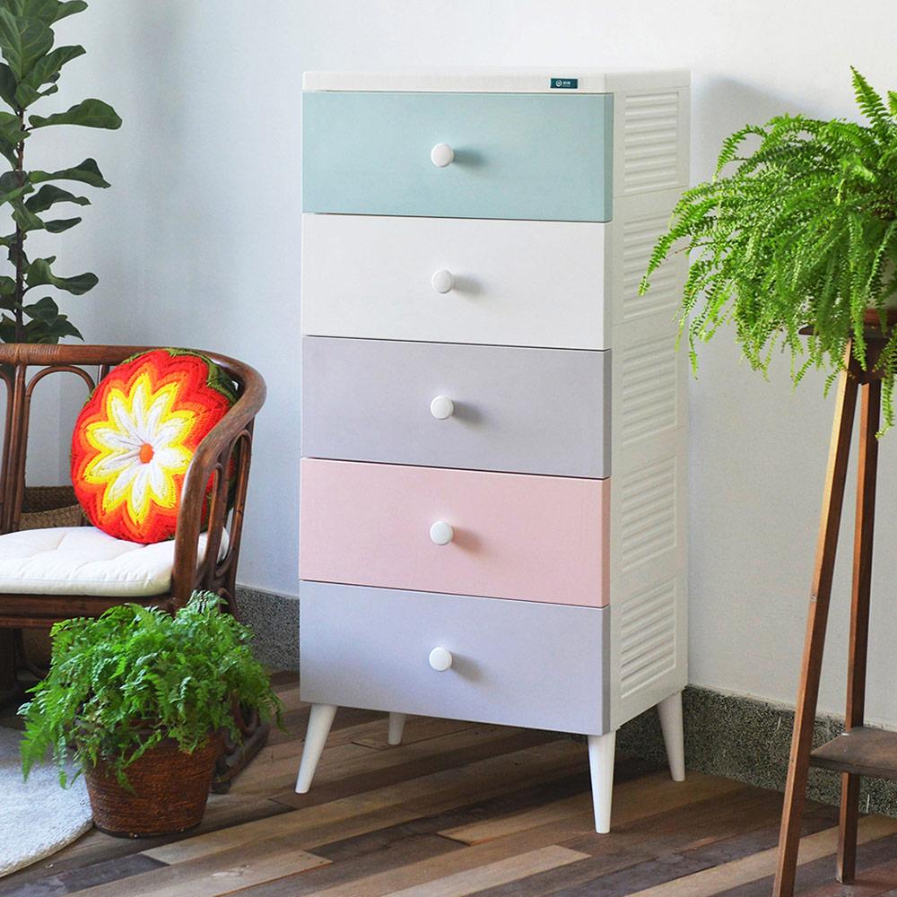 +O家窩 悠雅五層高腳抽屜收納櫃-DIY-4色可選