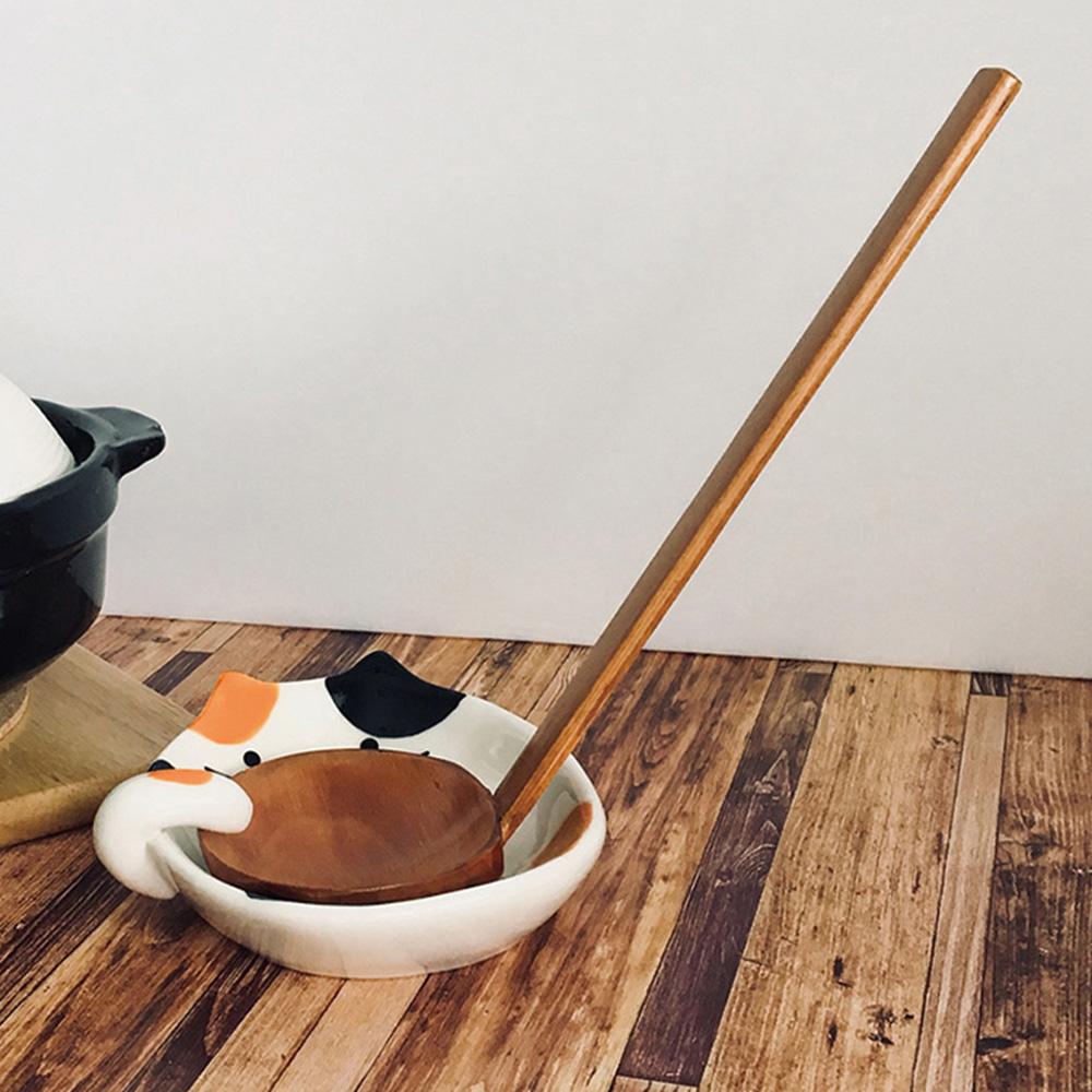 霜山|貓咪造型陶瓷彩釉碟型鍋勺/湯勺架