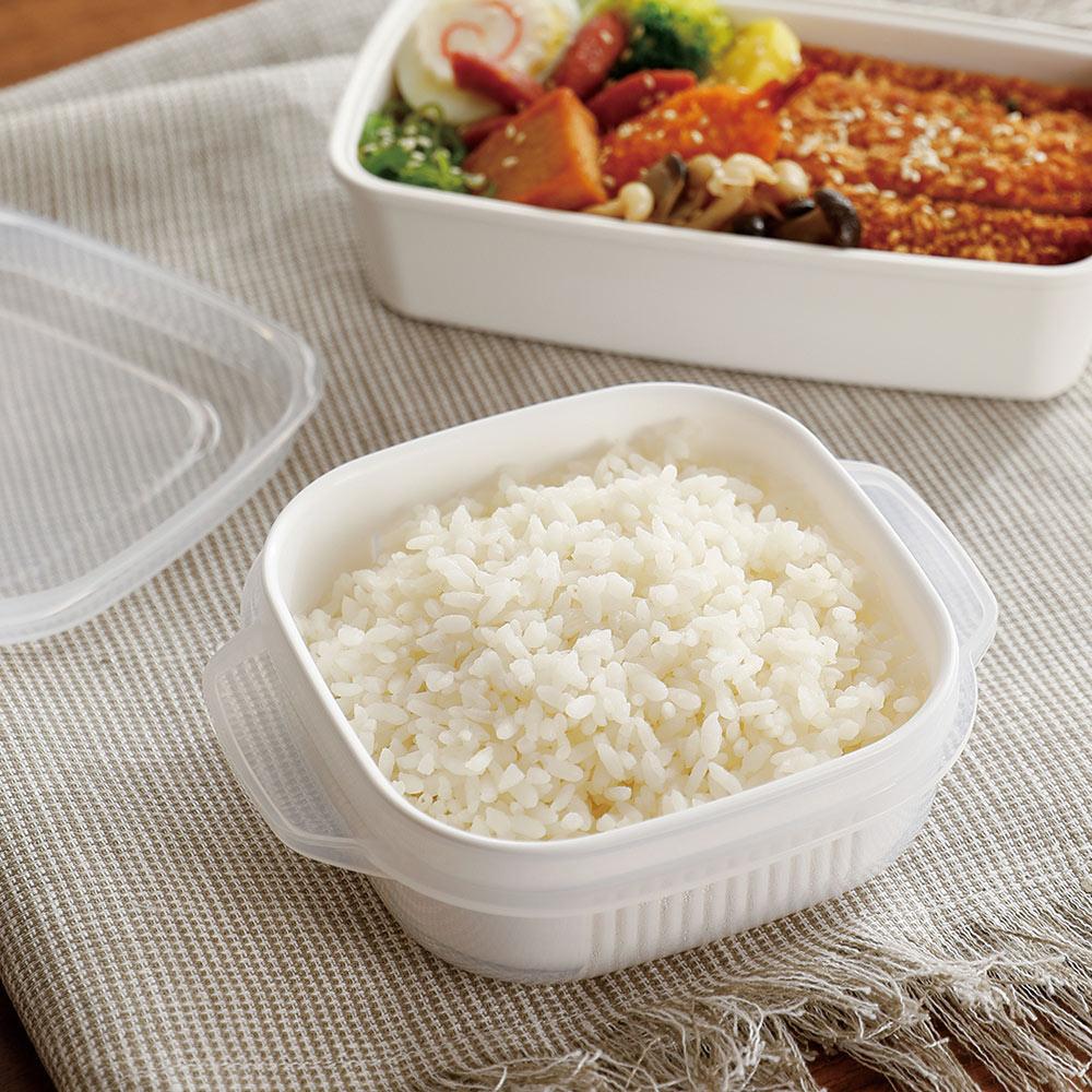 霜山|微波蒸煮米飯冷凍冷藏保鮮盒-400ml-3入