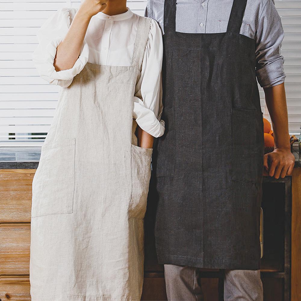 霜山|亞麻風背掛交叉式工作圍裙(雙口袋)-附收納袋-2色可選