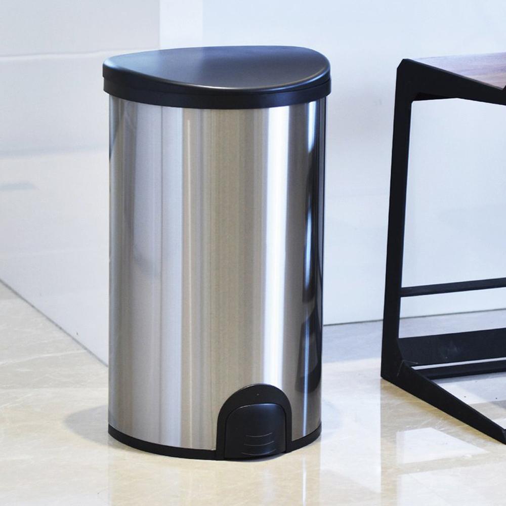 +O家窩|諾曼腳觸感應不鏽鋼垃圾桶50L