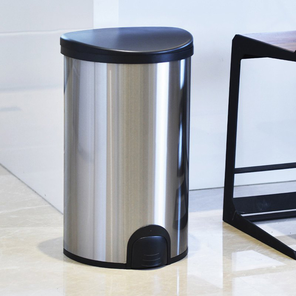 +O家窩 諾曼腳觸感應不鏽鋼垃圾桶50L