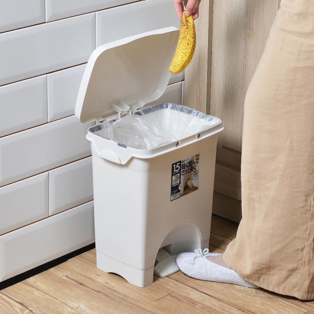 RISU 不沾手寬形腳踏式垃圾桶(附分類掛勾)-15L