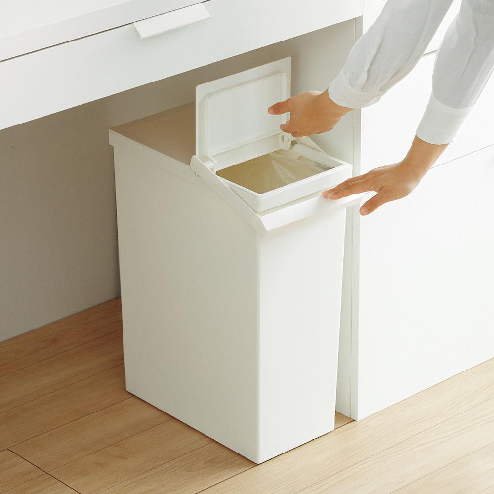 RISU|日本製可分類按壓掀蓋式垃圾桶(附輪)-30L