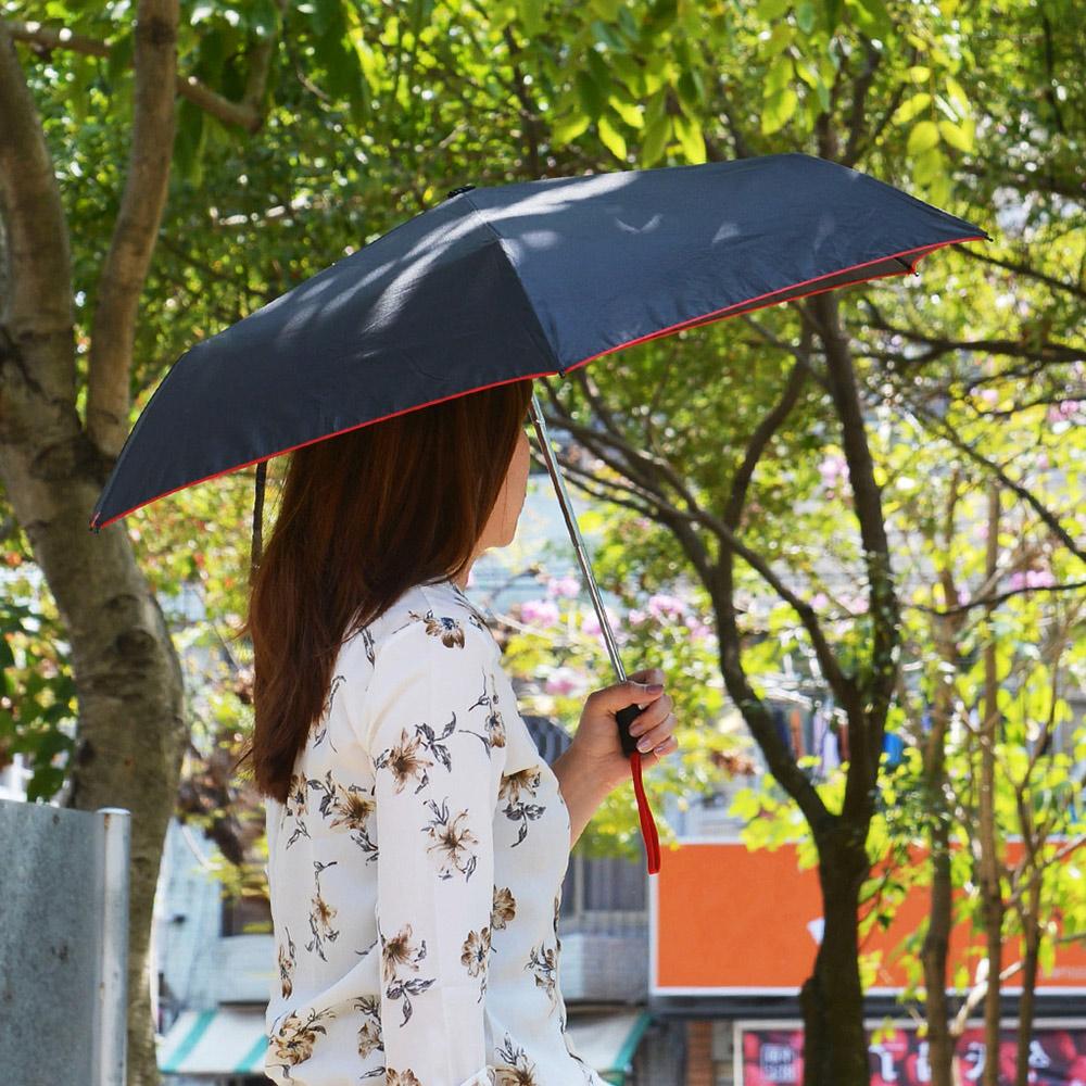 Waterfront|摩登酷黑晴雨兩用一鍵自動開收摺疊傘-4色可選