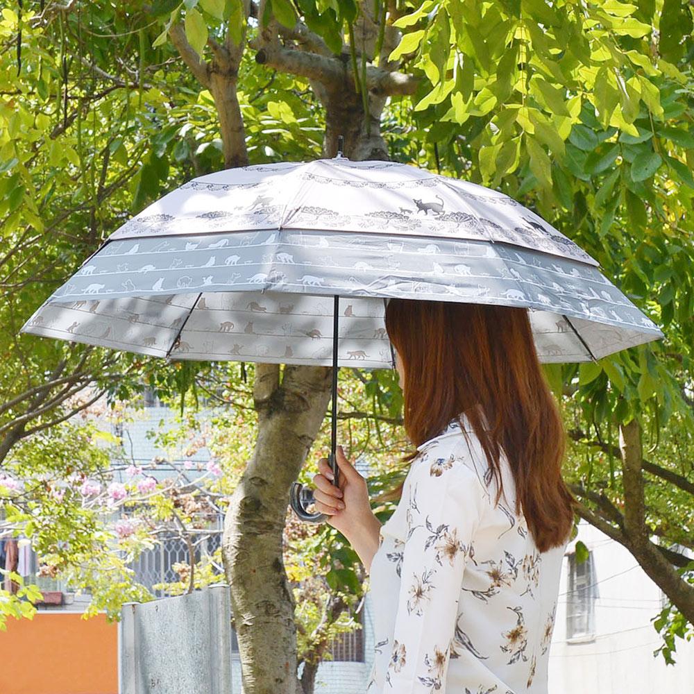 SUGITA 午後小貓大傘面防風雙層抗UV伸縮傘-3色可選
