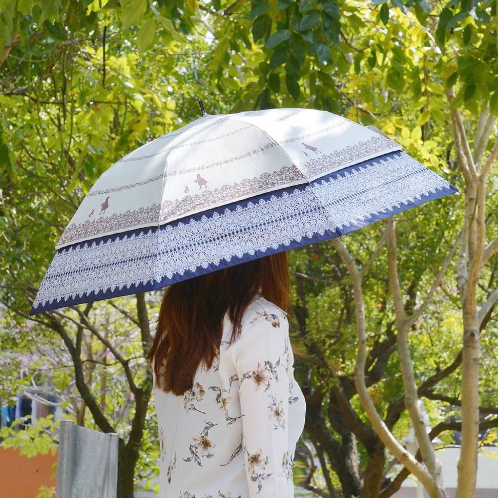 SUGITA|夢境愛麗絲大傘面抗風雙層抗UV伸縮傘-2色可選