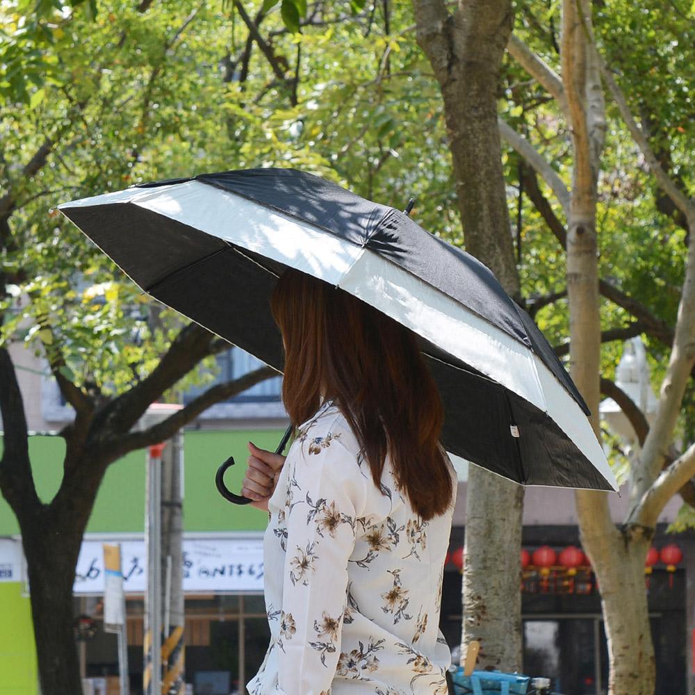 SUGITA|純色大傘面防風雙層抗UV一鍵速開伸縮自動傘-2色可選