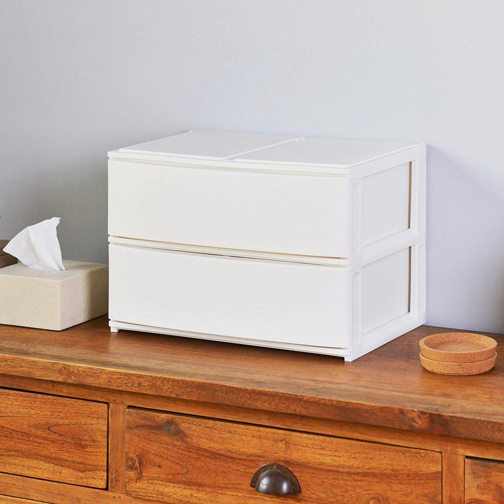 squ+|Posdeco日製39cm面寬抽屜收納箱(2大高抽)-3色可選
