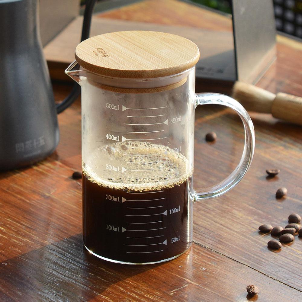 +O家窩|悶蒸十五附刻度耐熱玻璃咖啡公杯量壺(附天然竹蓋)-500ml