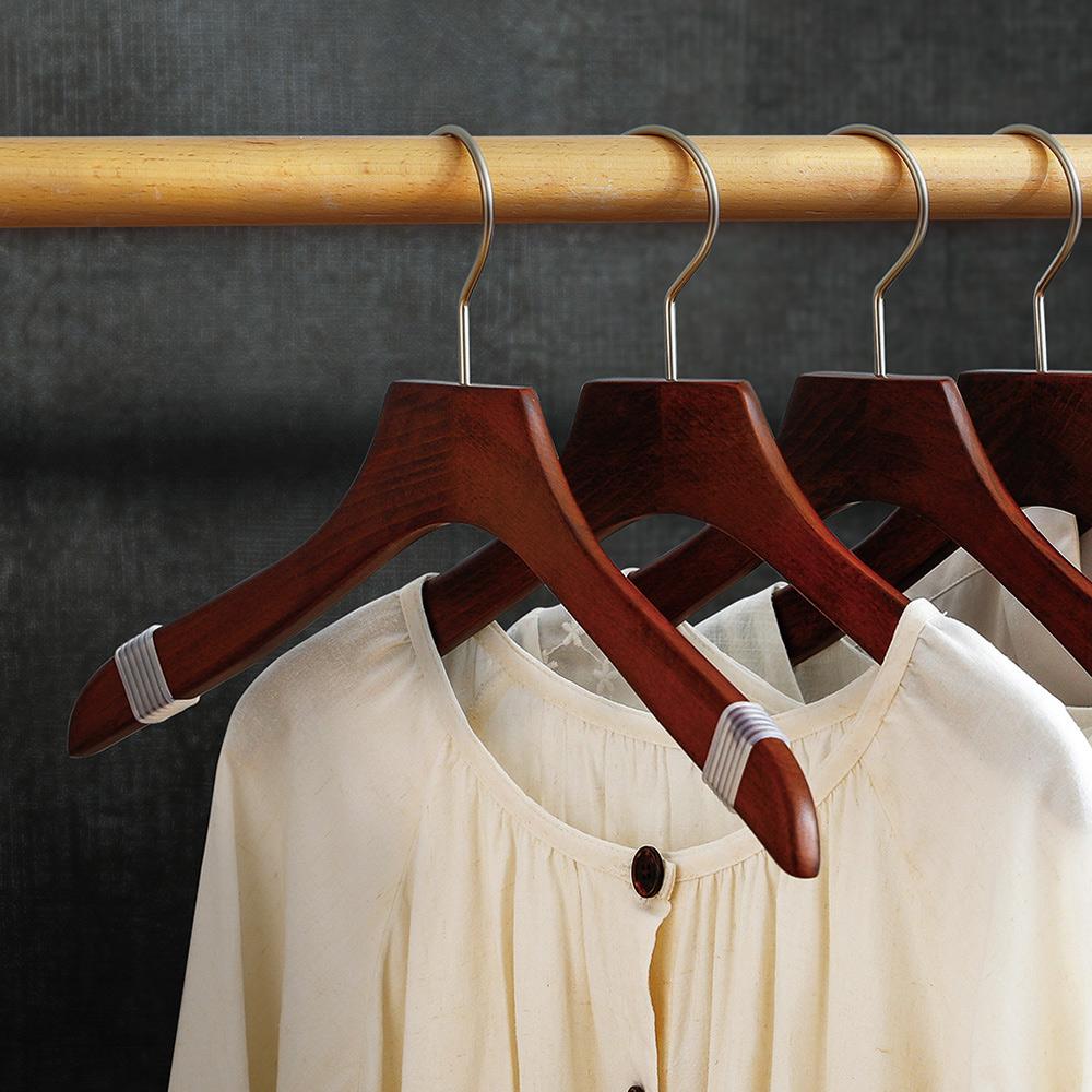 霜山|天然木製胡桃木色防滑防落衣架-3入-男女款可選