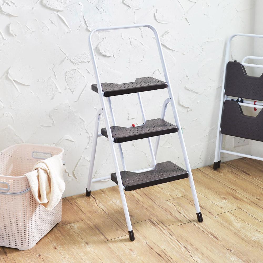 +O家窩|漢克家用耐重摺疊扶手板梯-三階