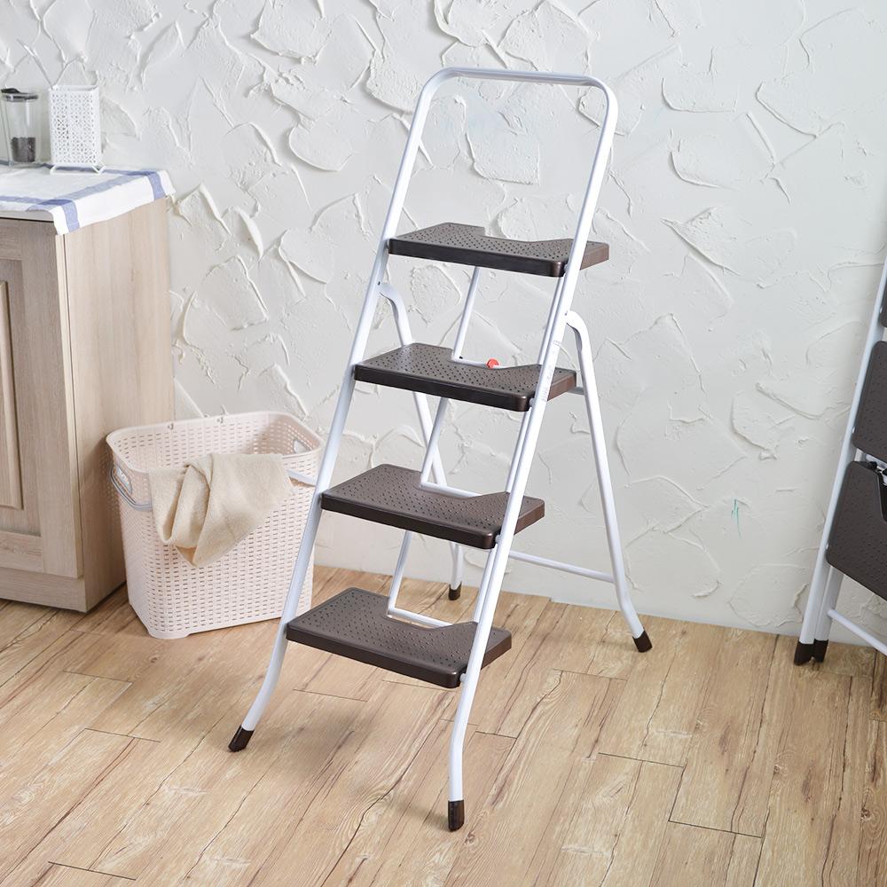 +O家窩 漢克家用耐重摺疊扶手板梯-四階