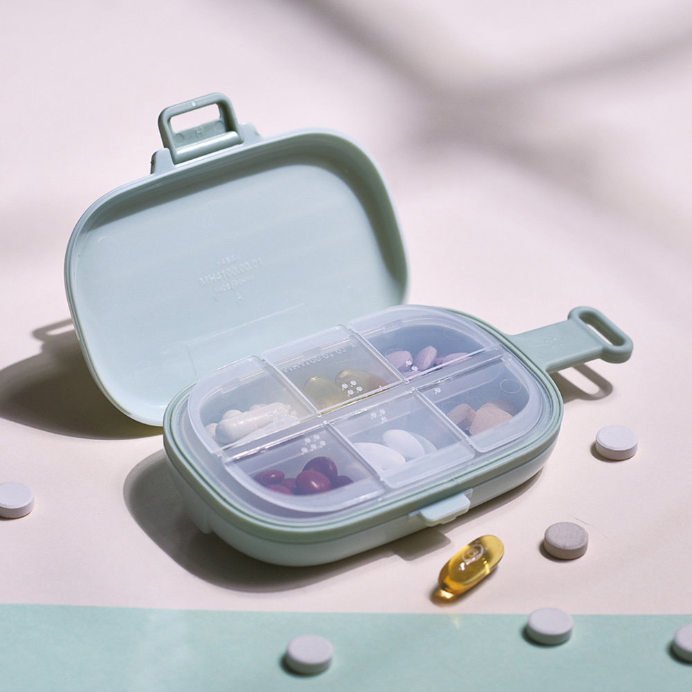 CITYLIFE 奈米抗菌PP便攜式旅行箱造型6格藥盒-3入