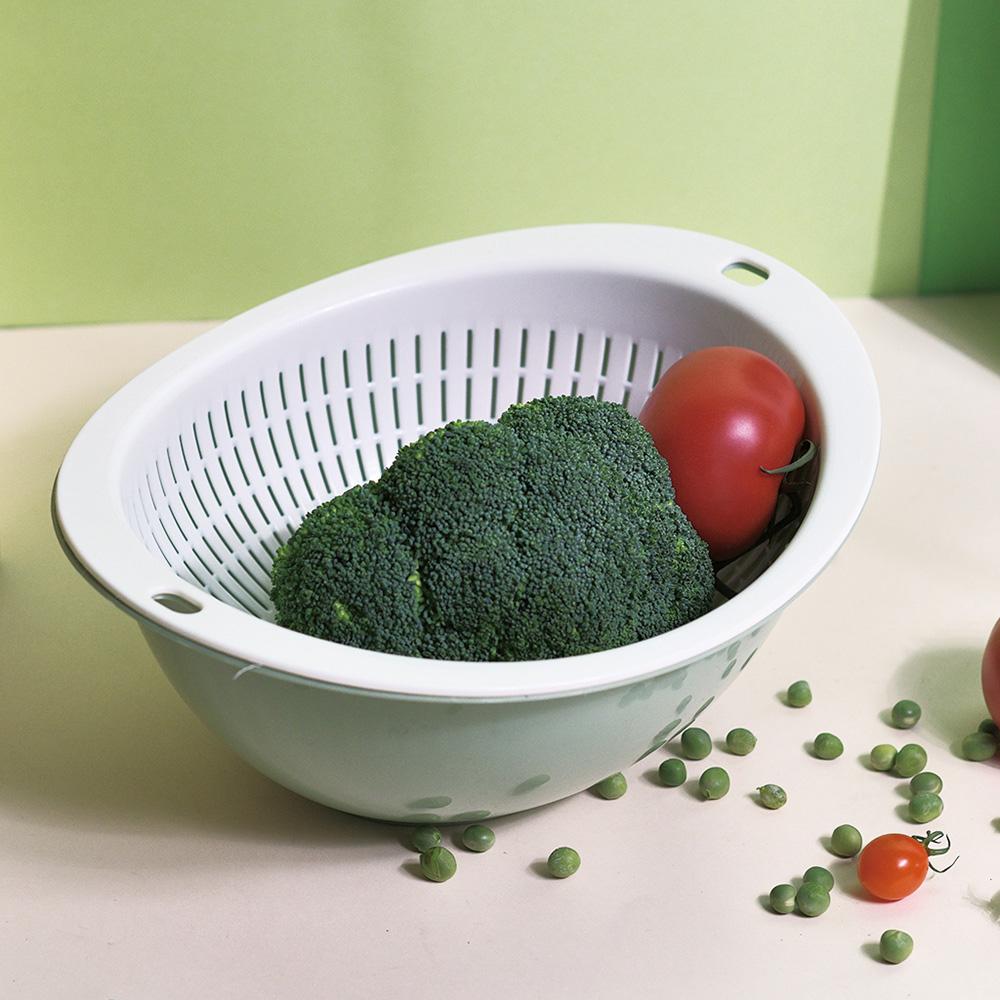CITYLIFE|奈米抗菌PP橢圓形雙層式蔬果瀝水籃