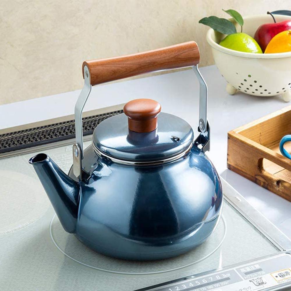 高木金屬|圓形炫澤珍珠藍木柄琺瑯茶壺-2.3L(IH爐可用)