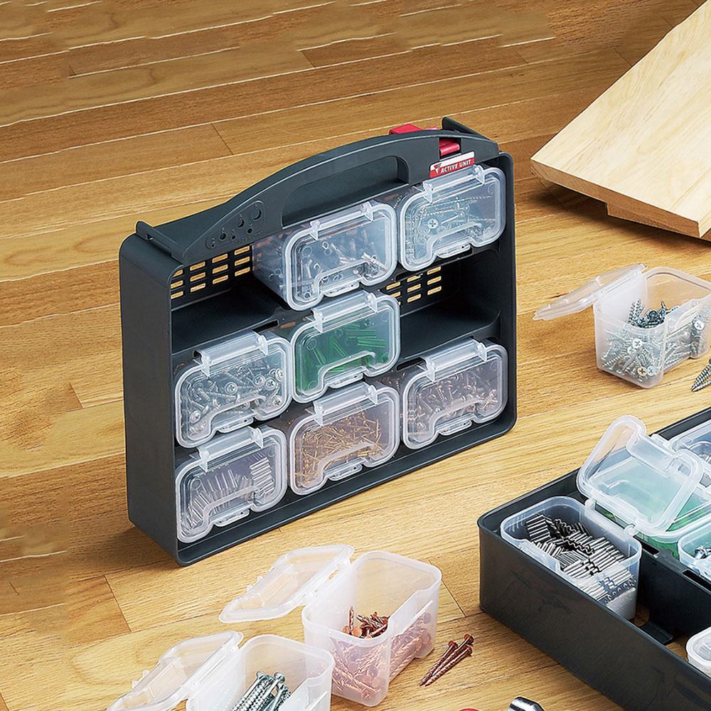 JEJ|日本製9格可拆組合式分類手提零件箱