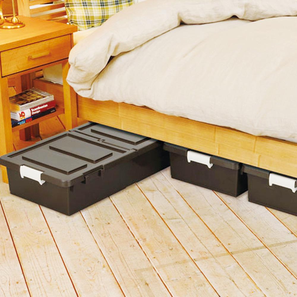 JEJ 日本製 連結式床下雙開收納箱27L-深咖啡3入
