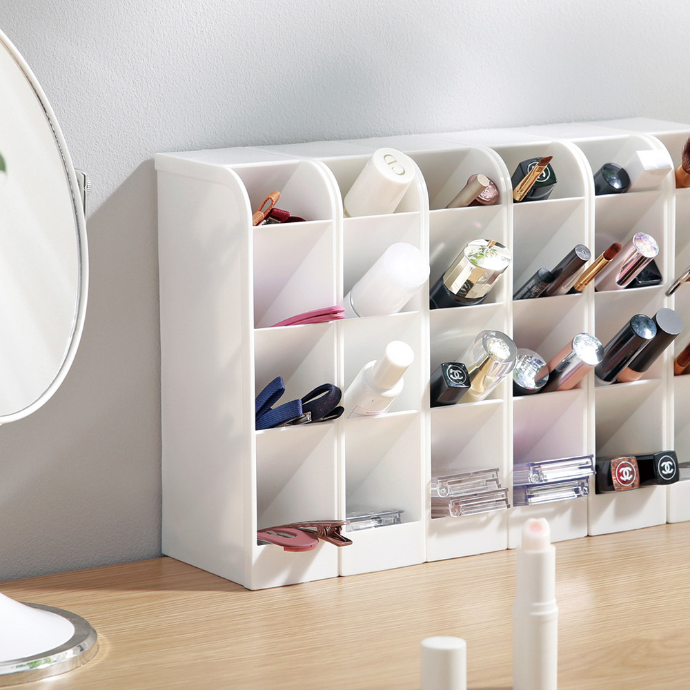 YAMADA|日製桌上斜取式4格筆筒/餐具/彩妝刷具收納盒-3入