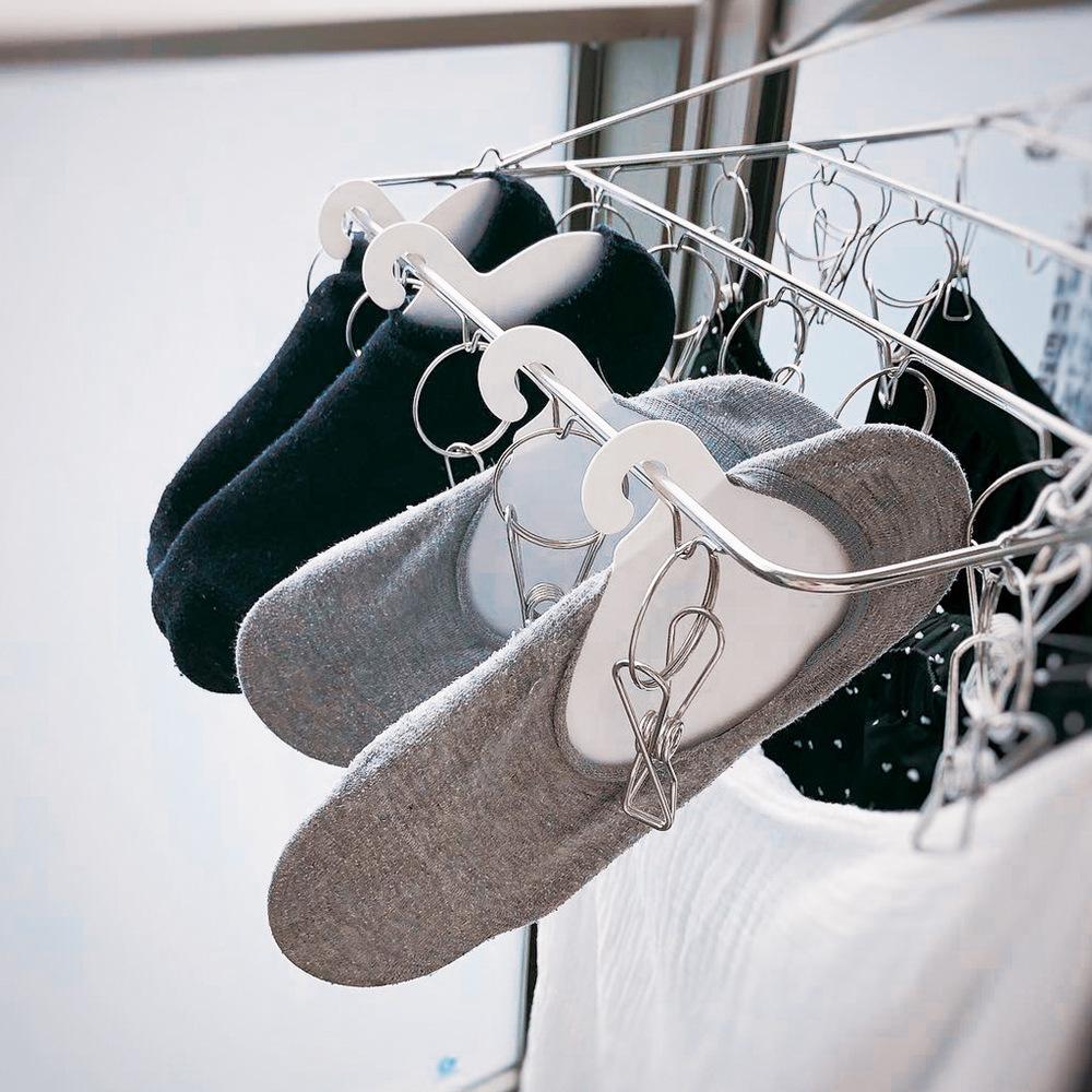 YAMADA 成人短襪/船型襪兩用晾曬收納掛架-12入