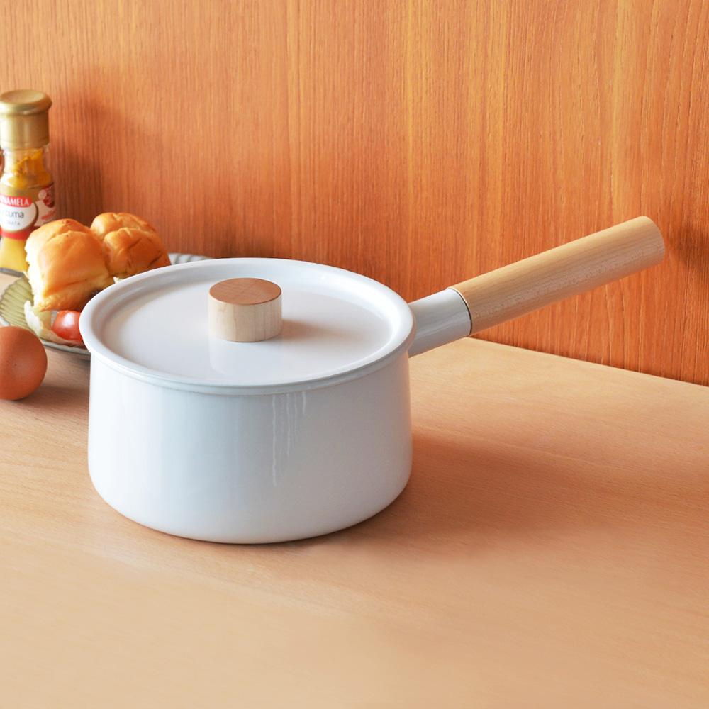 FORMLADY|小泉誠 kaico日製原木單柄琺瑯牛奶鍋(附蓋)-2.2L