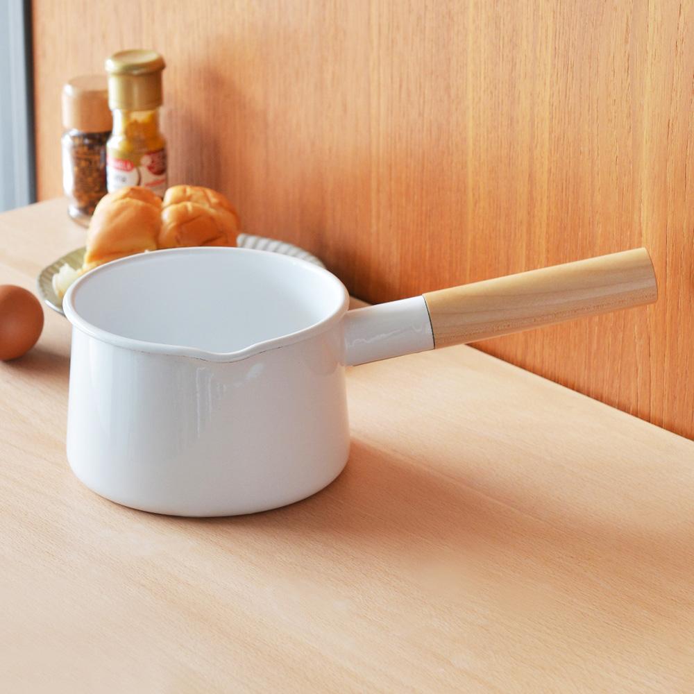 FORMLADY 小泉誠 kaico日製原木單柄琺瑯牛奶鍋-1.45L