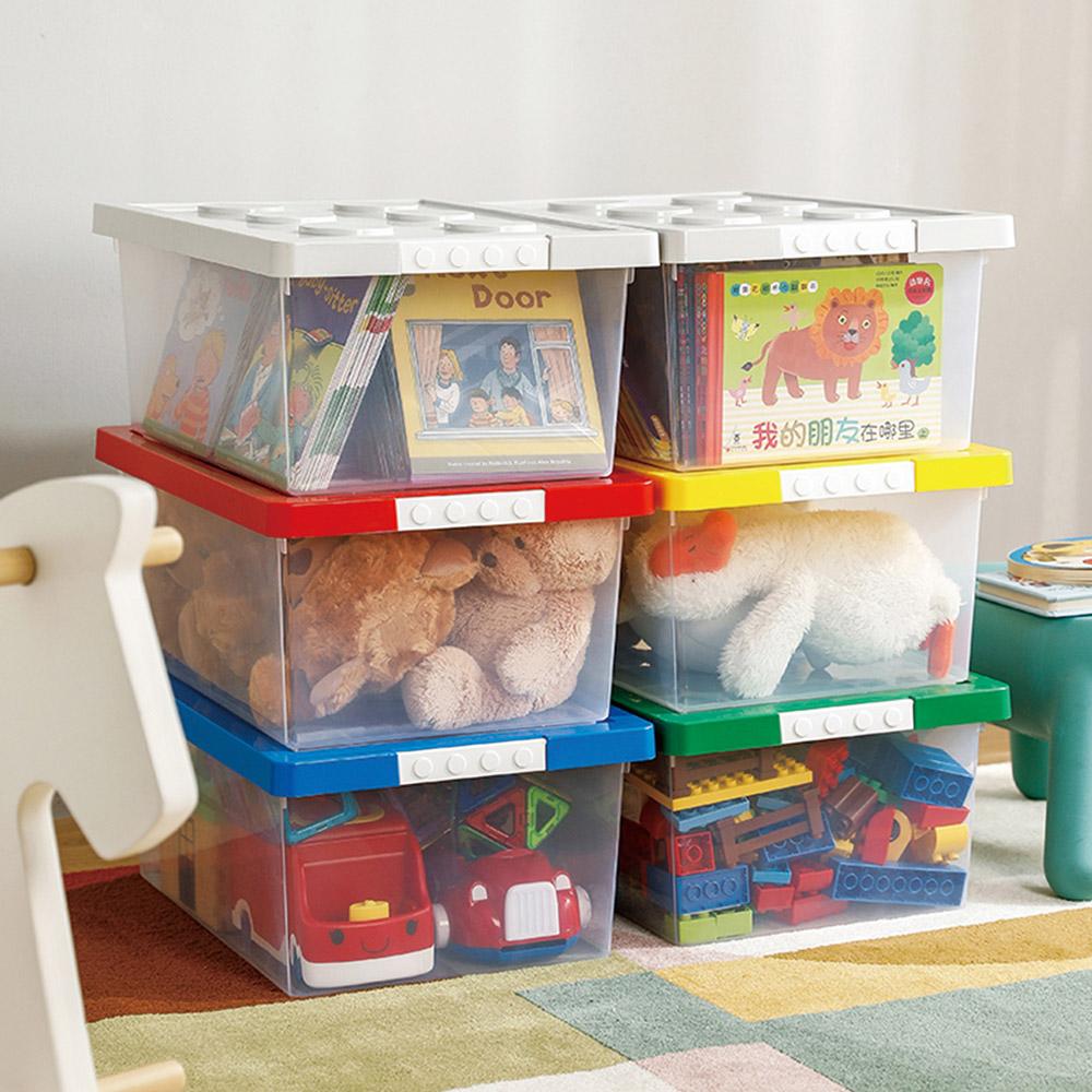 霜山|樂高可疊式積木玩具收納盒-20L-3入-5色可選