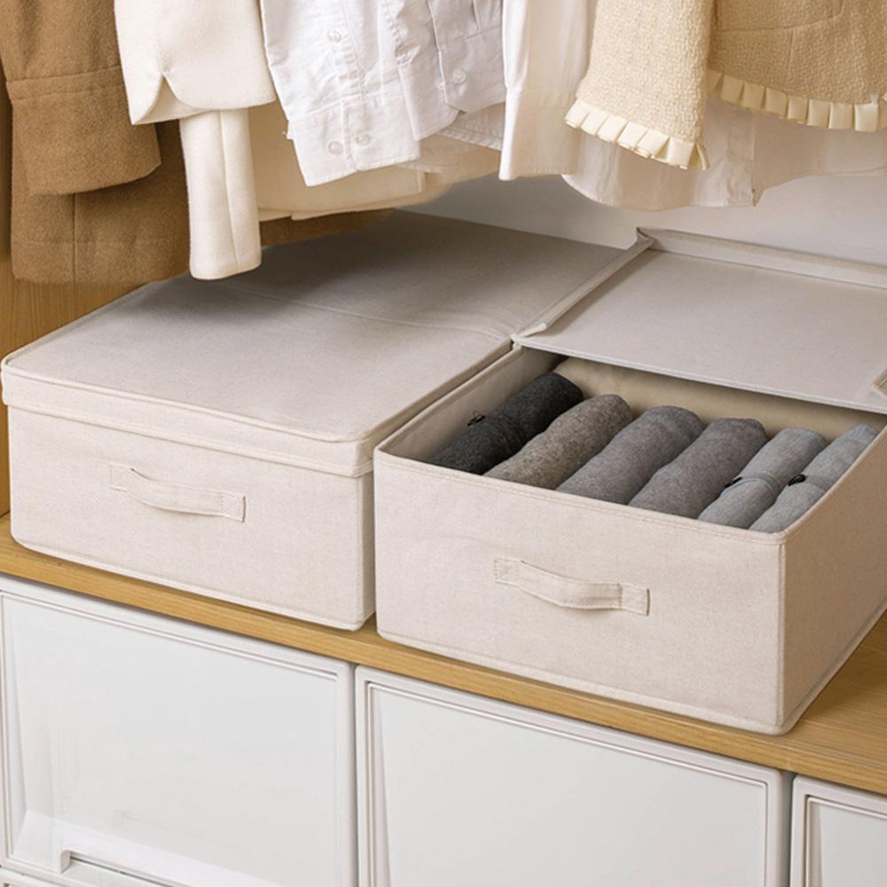 霜山|棉麻床下雙開防塵衣物棉被收納箱-3入