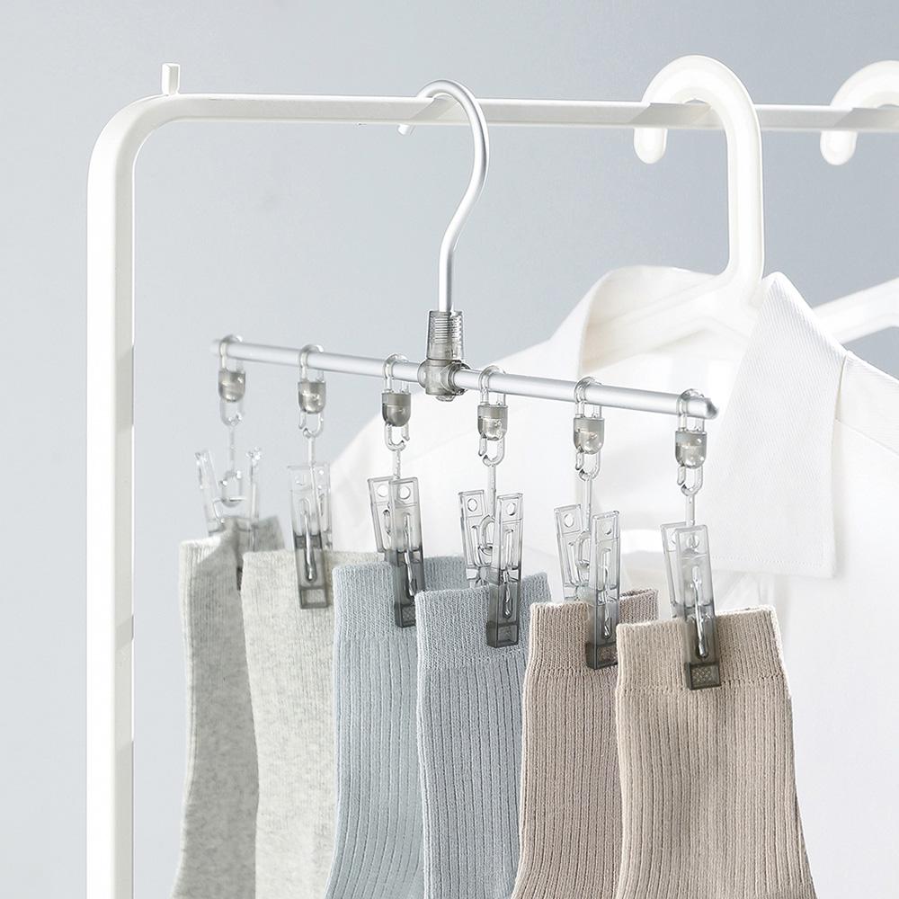 霜山|鋁合金一字型纖形內衣/襪子晾曬架(6夾)-3入