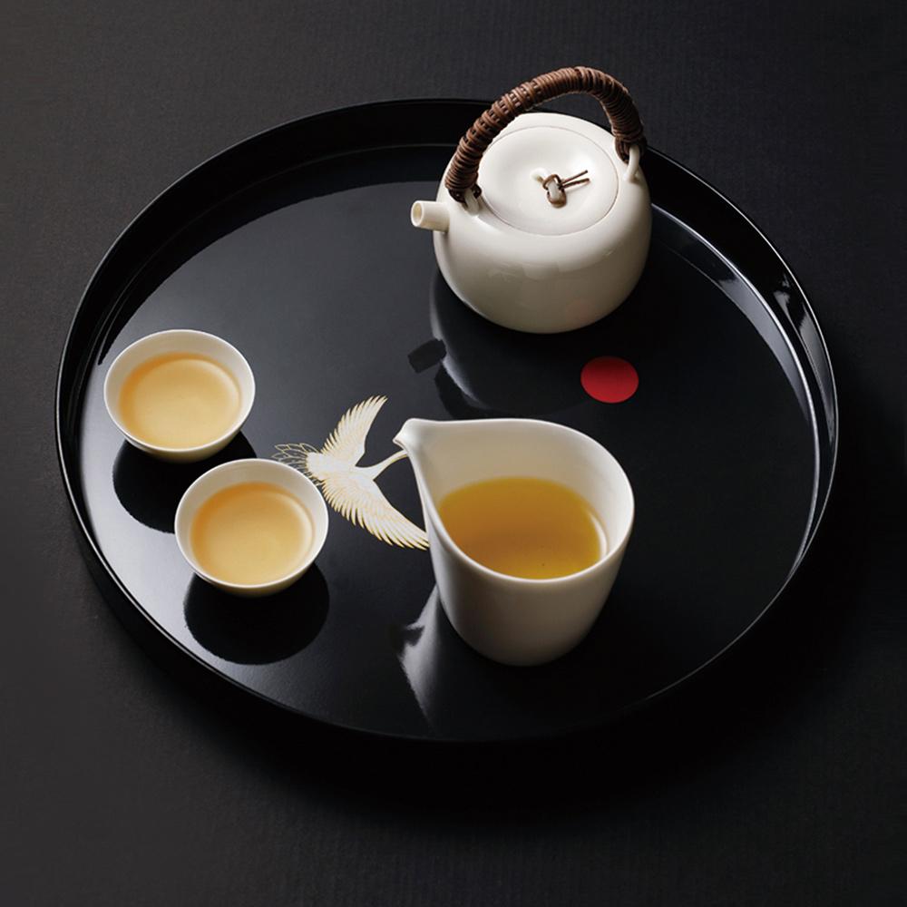 霜山|和風白鶴圓形仿瓷托盤/茶盤/點心盤