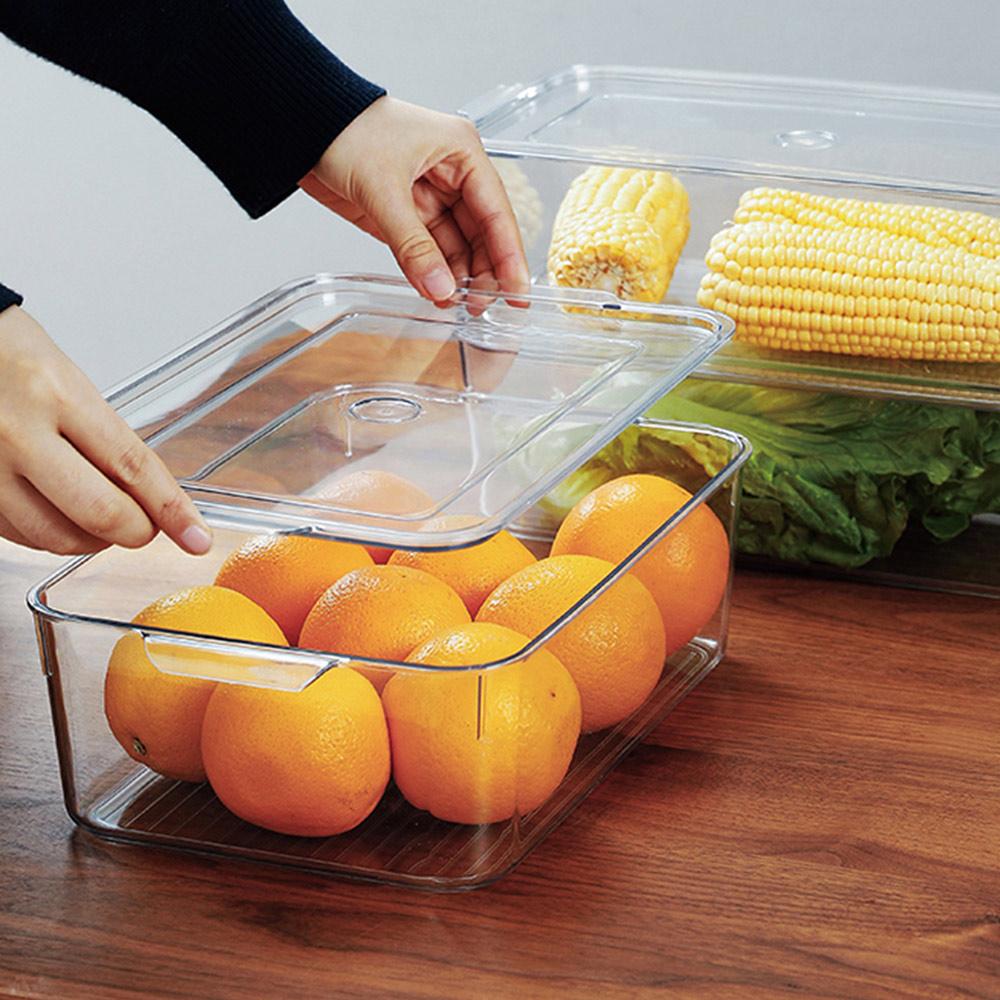 霜山|廚房冰箱PET蔬果生鮮收納盒(附蓋)-5L-3入