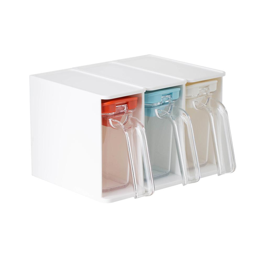 霜山 壁掛收納式快取調味料盒附挖勺3入組 (三色各一)