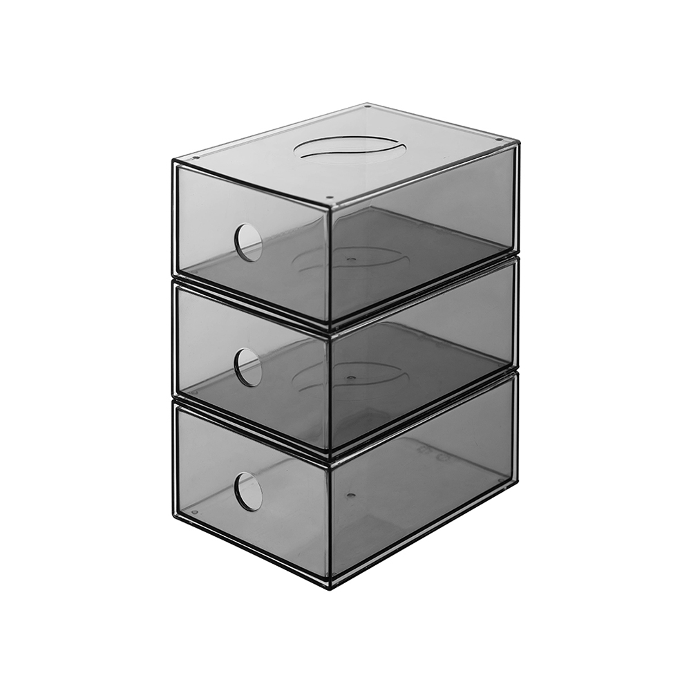 霜山|透明抽屜型小物分類儲物盒-3入