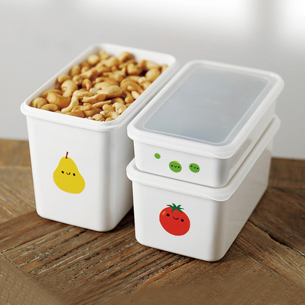 霜山|水果印花冷藏冷凍附蓋保鮮盒大中小3件組
