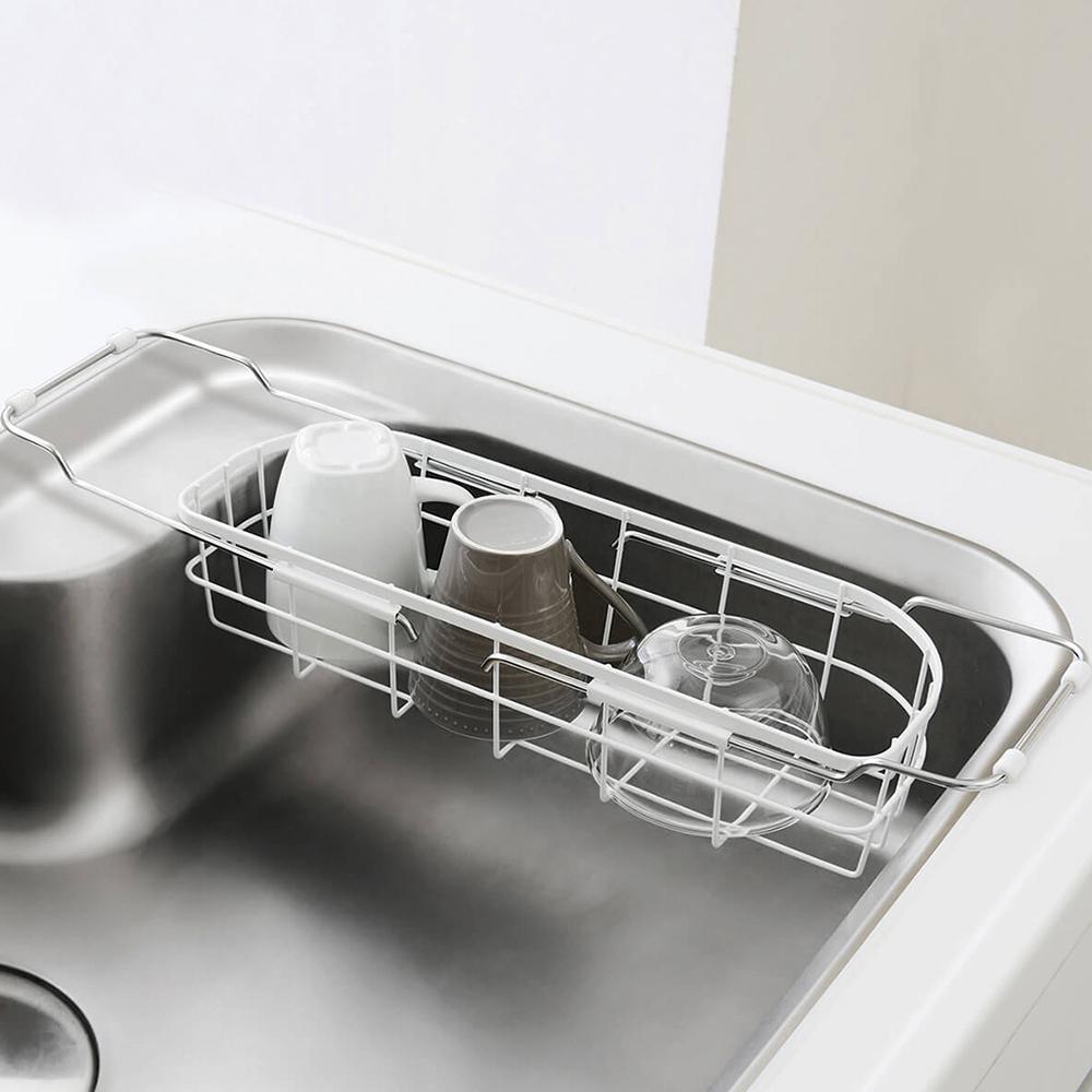 天馬 廚房系列窄型伸縮式碗盤瀝水籃